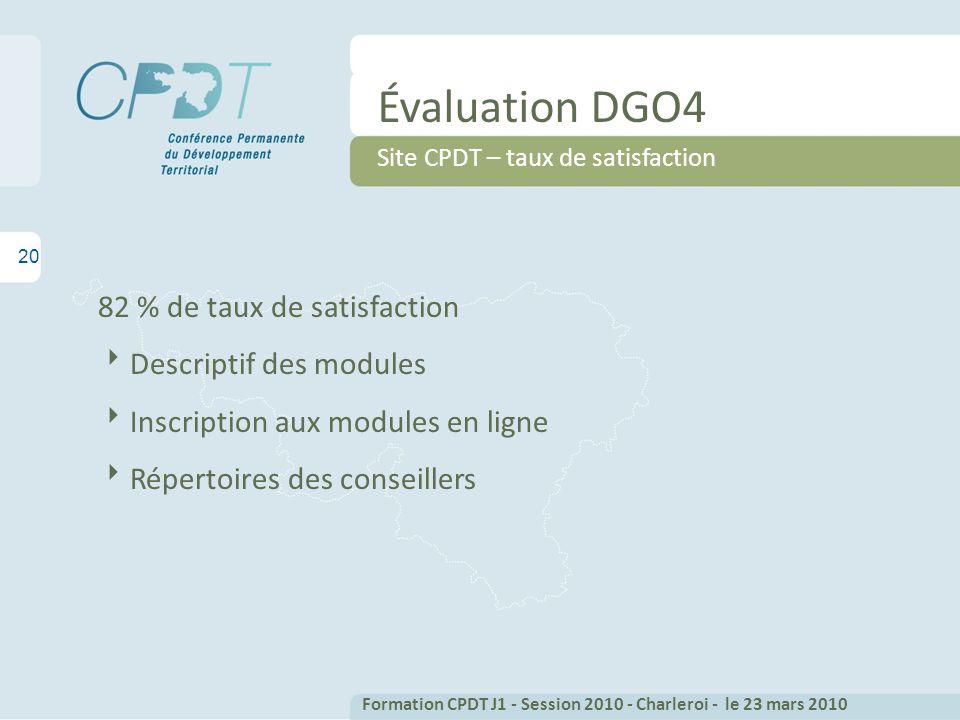 20 Évaluation DGO4 Site CPDT – taux de satisfaction 82 % de taux de satisfaction Descriptif des modules Inscription aux modules en ligne Répertoires d