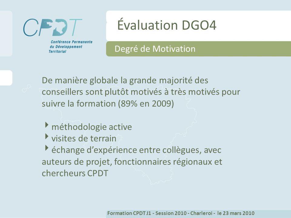 Évaluation DGO4 Degré de Motivation De manière globale la grande majorité des conseillers sont plutôt motivés à très motivés pour suivre la formation (89% en 2009) méthodologie active visites de terrain échange dexpérience entre collègues, avec auteurs de projet, fonctionnaires régionaux et chercheurs CPDT Formation CPDT J1 - Session 2010 - Charleroi - le 23 mars 2010