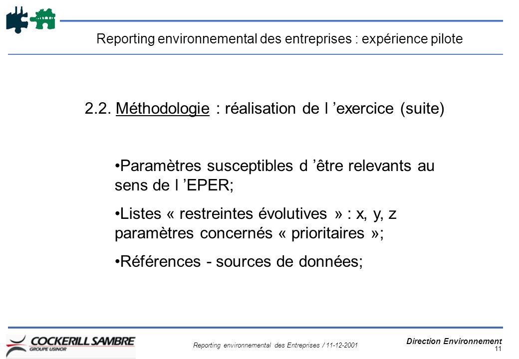 Reporting environnemental des Entreprises / 11-12-2001 Direction Environnement 11 Reporting environnemental des entreprises : expérience pilote 2.2.