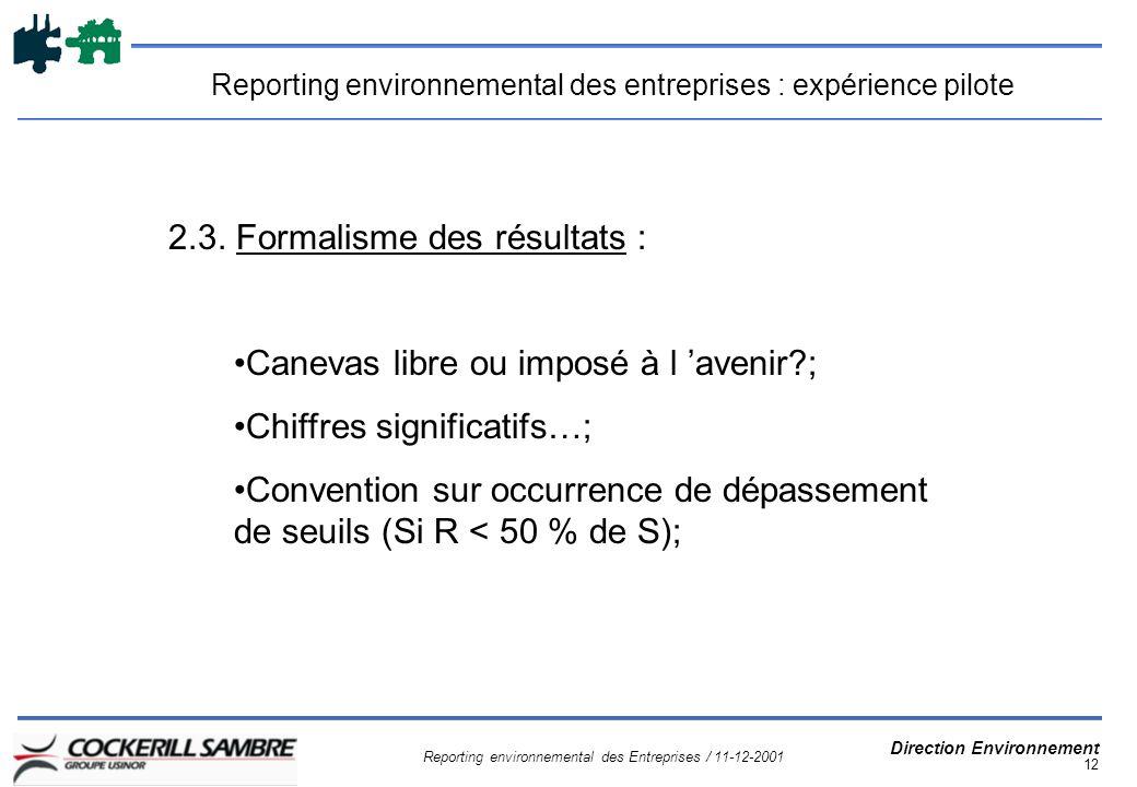 Reporting environnemental des Entreprises / 11-12-2001 Direction Environnement 12 Reporting environnemental des entreprises : expérience pilote 2.3.