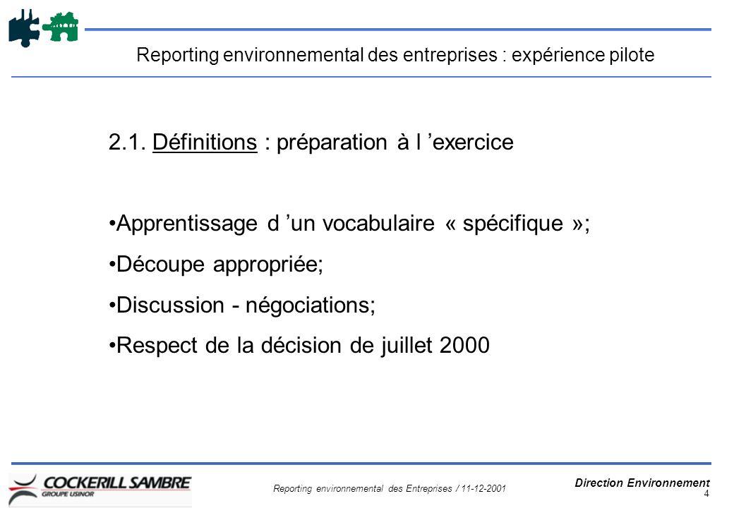 Reporting environnemental des Entreprises / 11-12-2001 Direction Environnement 4 Reporting environnemental des entreprises : expérience pilote 2.1.