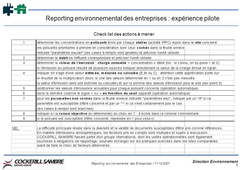 Reporting environnemental des Entreprises / 11-12-2001 Direction Environnement 9 Reporting environnemental des entreprises : expérience pilote Check list des actions à mener