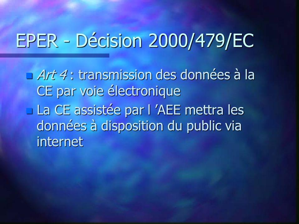 EPER - Décision 2000/479/EC n Art 4 : transmission des données à la CE par voie électronique n La CE assistée par l AEE mettra les données à disposition du public via internet