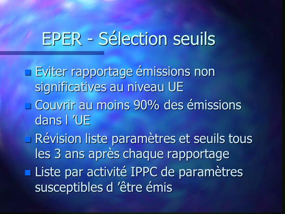 EPER - Sélection seuils n Eviter rapportage émissions non significatives au niveau UE n Couvrir au moins 90% des émissions dans l UE n Révision liste paramètres et seuils tous les 3 ans après chaque rapportage n Liste par activité IPPC de paramètres susceptibles d être émis