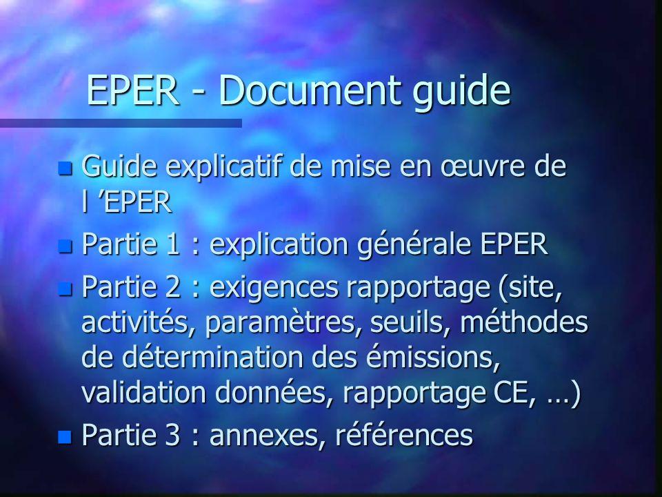 EPER - Document guide n Guide explicatif de mise en œuvre de l EPER n Partie 1 : explication générale EPER n Partie 2 : exigences rapportage (site, activités, paramètres, seuils, méthodes de détermination des émissions, validation données, rapportage CE, …) n Partie 3 : annexes, références