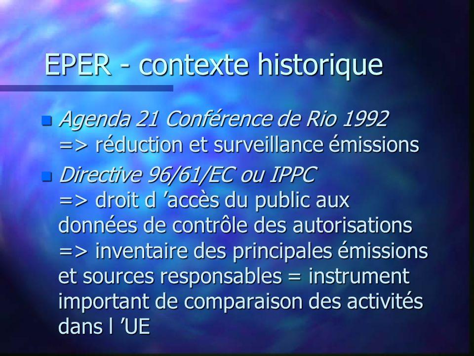EPER - contexte historique n Agenda 21 Conférence de Rio 1992 => réduction et surveillance émissions n Directive 96/61/EC ou IPPC => droit d accès du public aux données de contrôle des autorisations => inventaire des principales émissions et sources responsables = instrument important de comparaison des activités dans l UE