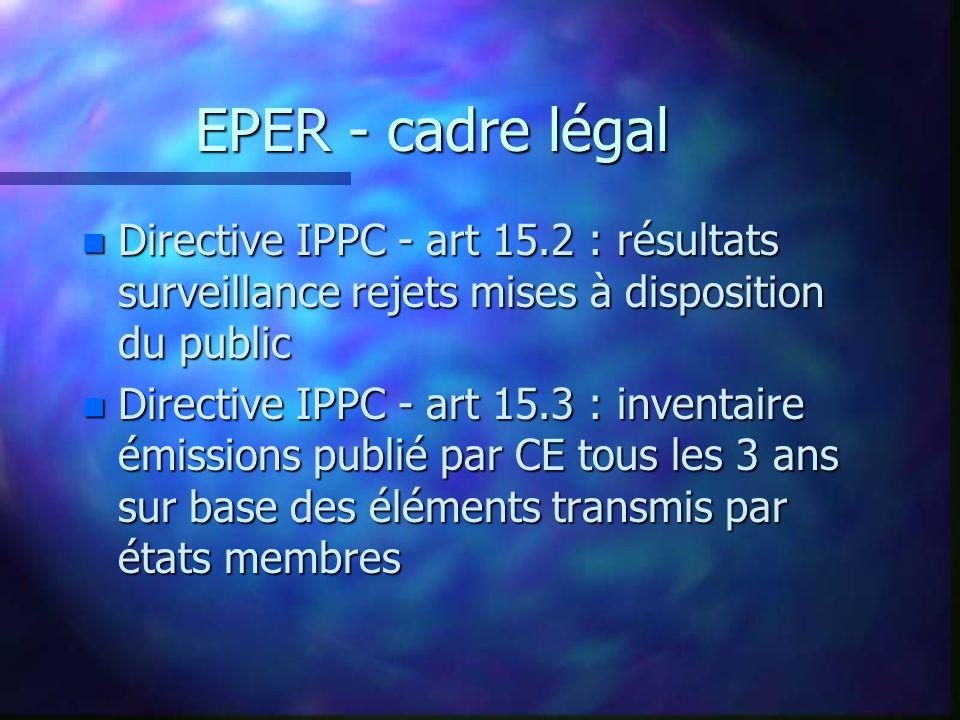 EPER - cadre légal n Directive IPPC - art 15.2 : résultats surveillance rejets mises à disposition du public n Directive IPPC - art 15.3 : inventaire émissions publié par CE tous les 3 ans sur base des éléments transmis par états membres