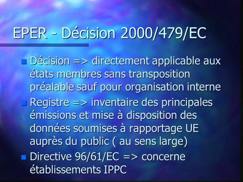 EPER - Décision 2000/479/EC n Décision => directement applicable aux états membres sans transposition préalable sauf pour organisation interne n Registre => inventaire des principales émissions et mise à disposition des données soumises à rapportage UE auprès du public ( au sens large) n Directive 96/61/EC => concerne établissements IPPC