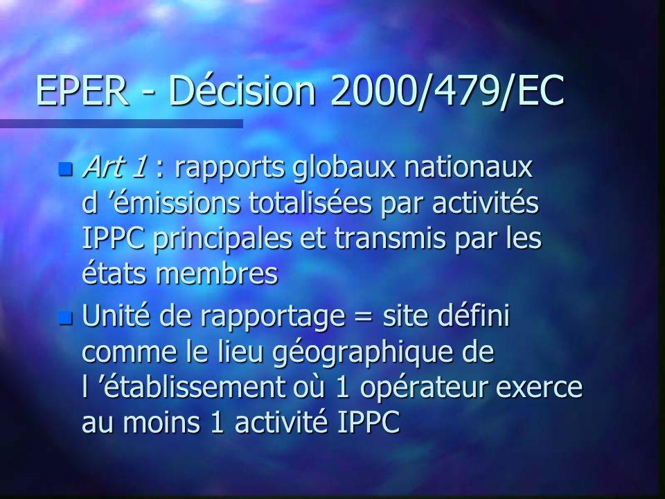 EPER - Décision 2000/479/EC n Art 1 : rapports globaux nationaux d émissions totalisées par activités IPPC principales et transmis par les états membres n Unité de rapportage = site défini comme le lieu géographique de l établissement où 1 opérateur exerce au moins 1 activité IPPC