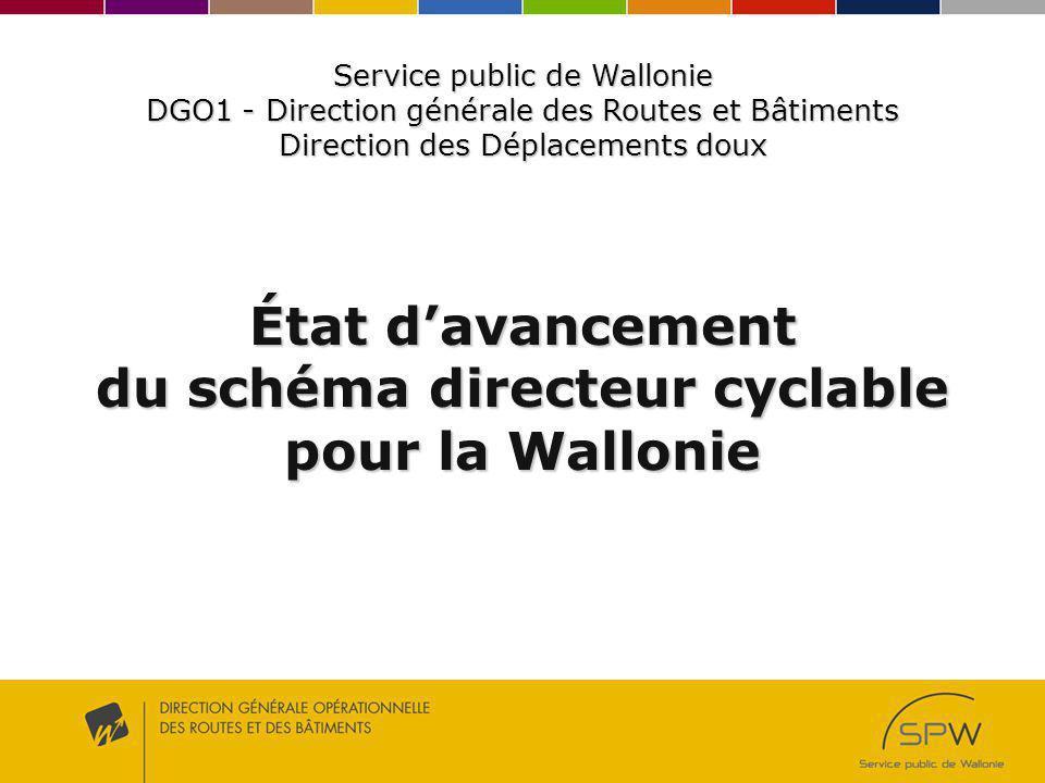 État davancement du schéma directeur cyclable pour la Wallonie Service public de Wallonie DGO1 - Direction générale des Routes et Bâtiments Direction des Déplacements doux
