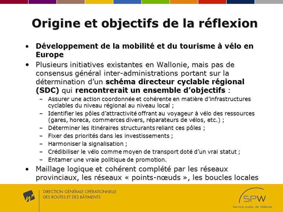 Origine et objectifs de la réflexion Développement de la mobilité et du tourisme à vélo en EuropeDéveloppement de la mobilité et du tourisme à vélo en Europe Plusieurs initiatives existantes en Wallonie, mais pas de consensus général inter-administrations portant sur la détermination dun schéma directeur cyclable régional (SDC) qui rencontrerait un ensemble dobjectifs : Plusieurs initiatives existantes en Wallonie, mais pas de consensus général inter-administrations portant sur la détermination dun schéma directeur cyclable régional (SDC) qui rencontrerait un ensemble dobjectifs : –Assurer une action coordonnée et cohérente en matière dinfrastructures cyclables du niveau régional au niveau local ; –Identifier les pôles dattractivité offrant au voyageur à vélo des ressources (gares, horeca, commerces divers, réparateurs de vélos, etc.) ; –Déterminer les itinéraires structurants reliant ces pôles ; –Fixer des priorités dans les investissements ; –Harmoniser la signalisation ; –Crédibiliser le vélo comme moyen de transport doté dun vrai statut ; –Entamer une vraie politique de promotion.