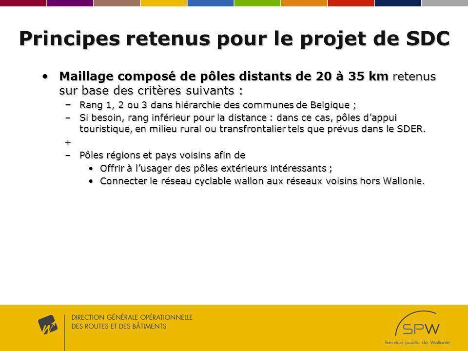 Principes retenus pour le projet de SDC Maillage composé de pôles distants de 20 à 35 km retenus sur base des critères suivants : Maillage composé de