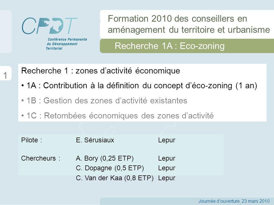 Recherche 1A : Eco-zoning 12 Journée douverture, 23 mars 2010 Formation 2010 des conseillers en aménagement du territoire et urbanisme Deux types principaux de synergies : substitution et mutualisation Exemples de synergies éco- industrielles Source : ECOSIND (2006) Types dactivités Synergies spécifiques