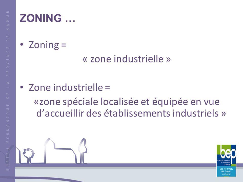 ZONING … Zoning = « zone industrielle » Zone industrielle = «zone spéciale localisée et équipée en vue daccueillir des établissements industriels »