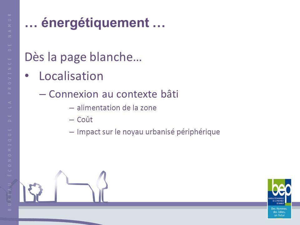 … énergétiquement … Dès la page blanche… Localisation – Connexion au contexte bâti – alimentation de la zone – Coût – Impact sur le noyau urbanisé périphérique