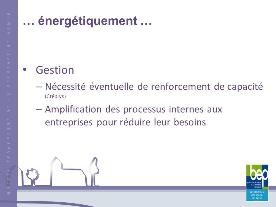 … énergétiquement … Gestion – Nécessité éventuelle de renforcement de capacité (Créalys) – Amplification des processus internes aux entreprises pour réduire leur besoins