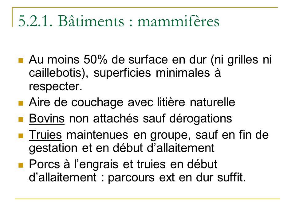 5.2.1. Bâtiments : mammifères Au moins 50% de surface en dur (ni grilles ni caillebotis), superficies minimales à respecter. Aire de couchage avec lit