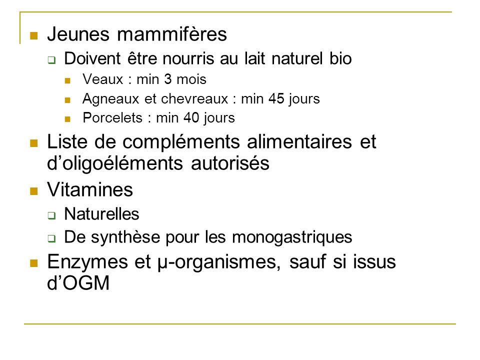 Jeunes mammifères Doivent être nourris au lait naturel bio Veaux : min 3 mois Agneaux et chevreaux : min 45 jours Porcelets : min 40 jours Liste de co