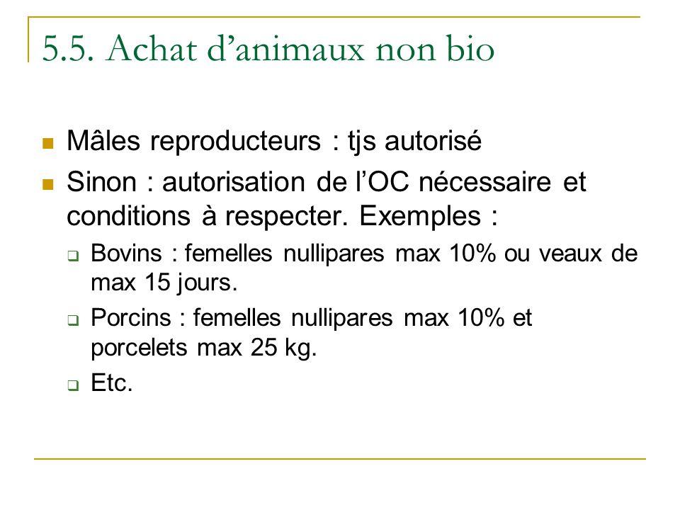 5.5. Achat danimaux non bio Mâles reproducteurs : tjs autorisé Sinon : autorisation de lOC nécessaire et conditions à respecter. Exemples : Bovins : f