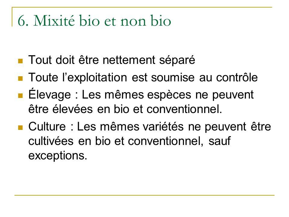 6. Mixité bio et non bio Tout doit être nettement séparé Toute lexploitation est soumise au contrôle Élevage : Les mêmes espèces ne peuvent être élevé