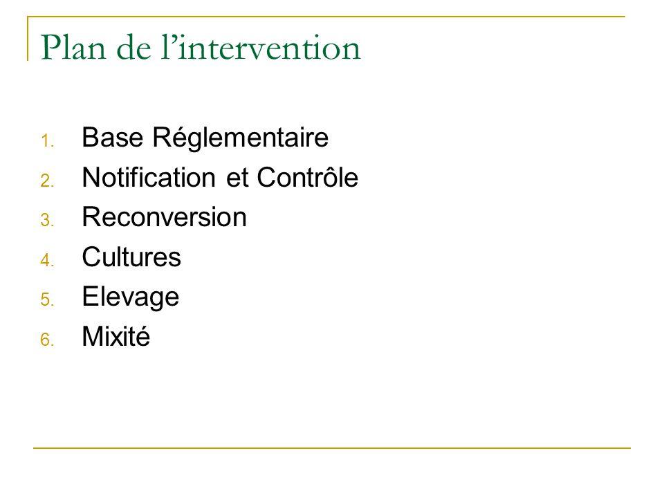 Plan de lintervention 1. Base Réglementaire 2. Notification et Contrôle 3. Reconversion 4. Cultures 5. Elevage 6. Mixité