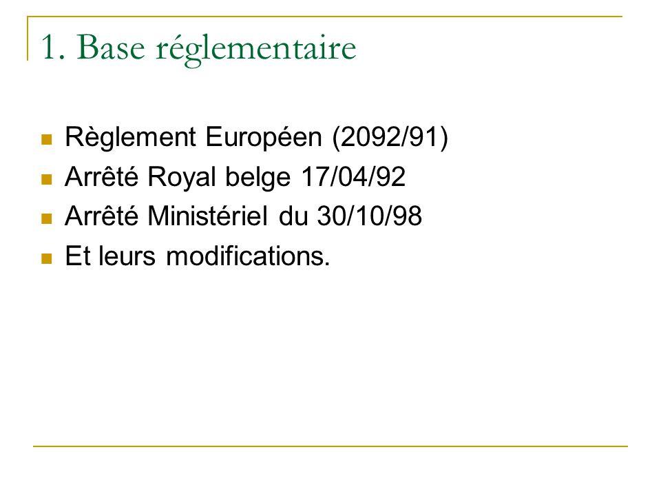 1. Base réglementaire Règlement Européen (2092/91) Arrêté Royal belge 17/04/92 Arrêté Ministériel du 30/10/98 Et leurs modifications.