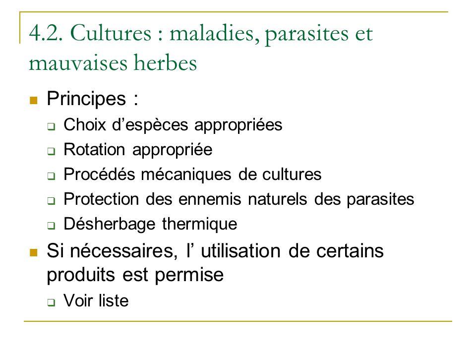 4.2. Cultures : maladies, parasites et mauvaises herbes Principes : Choix despèces appropriées Rotation appropriée Procédés mécaniques de cultures Pro