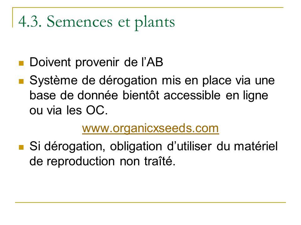 4.3. Semences et plants Doivent provenir de lAB Système de dérogation mis en place via une base de donnée bientôt accessible en ligne ou via les OC. w