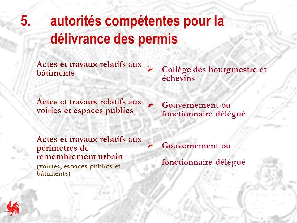 5. autorités compétentes pour la délivrance des permis Actes et travaux relatifs aux bâtiments Actes et travaux relatifs aux voiries et espaces public