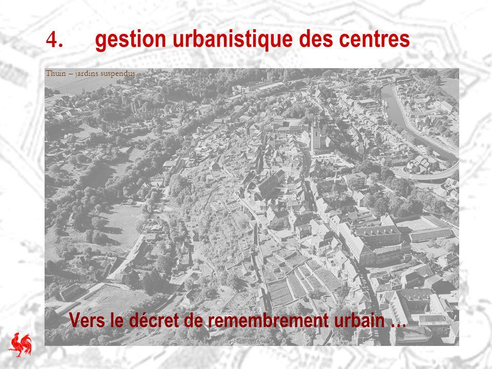 4. gestion urbanistique des centres Vers le décret de remembrement urbain … Thuin – jardins suspendus