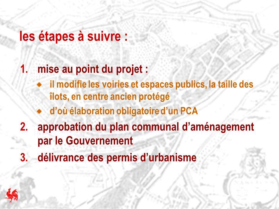 les étapes à suivre : 1.mise au point du projet : il modifie les voiries et espaces publics, la taille des îlots, en centre ancien protégé doù élabora