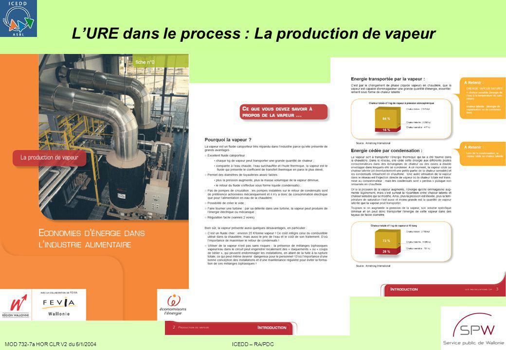 MOD 732-7a HOR CLR V2 du 5/1/2004ICEDD – RA/PDC6 LURE dans le process : La production de vapeur