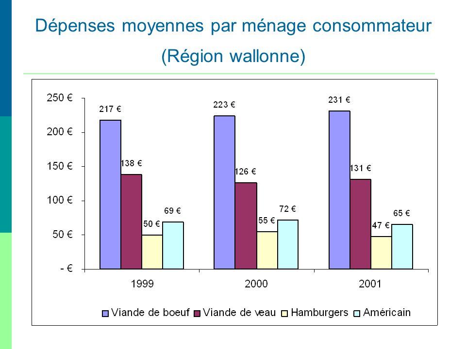 Dépenses moyennes par ménage consommateur (Région wallonne)