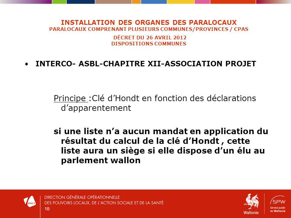 10 INSTALLATION DES ORGANES DES PARALOCAUX PARALOCAUX COMPRENANT PLUSIEURS COMMUNES/PROVINCES / CPAS DÉCRET DU 26 AVRIL 2012 DISPOSITIONS COMMUNES INTERCO- ASBL-CHAPITRE XII-ASSOCIATION PROJET Principe :Clé dHondt en fonction des déclarations dapparentement si une liste na aucun mandat en application du résultat du calcul de la clé dHondt, cette liste aura un siège si elle dispose dun élu au parlement wallon