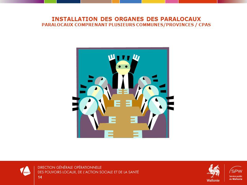 14 INSTALLATION DES ORGANES DES PARALOCAUX PARALOCAUX COMPRENANT PLUSIEURS COMMUNES/PROVINCES / CPAS