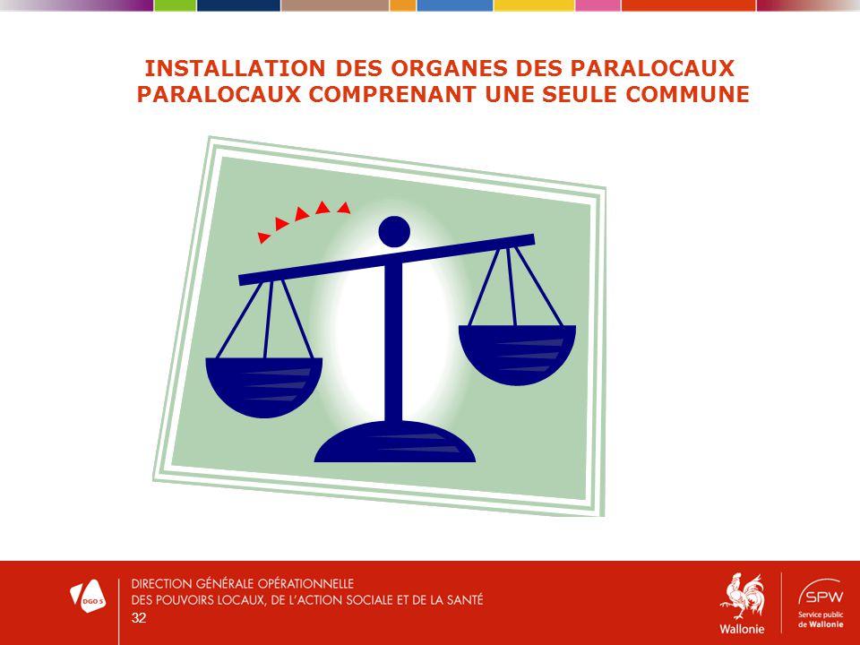 32 INSTALLATION DES ORGANES DES PARALOCAUX PARALOCAUX COMPRENANT UNE SEULE COMMUNE
