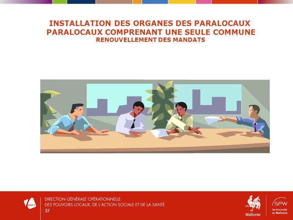 37 INSTALLATION DES ORGANES DES PARALOCAUX PARALOCAUX COMPRENANT UNE SEULE COMMUNE RENOUVELLEMENT DES MANDATS
