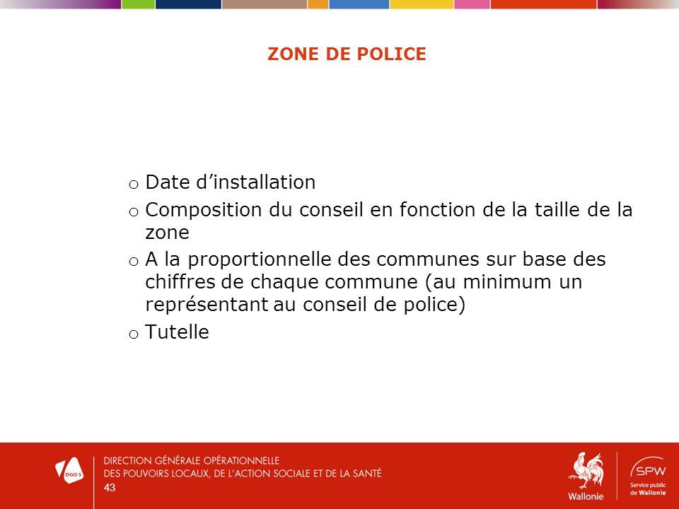 ZONE DE POLICE o Date dinstallation o Composition du conseil en fonction de la taille de la zone o A la proportionnelle des communes sur base des chiffres de chaque commune (au minimum un représentant au conseil de police) o Tutelle 43