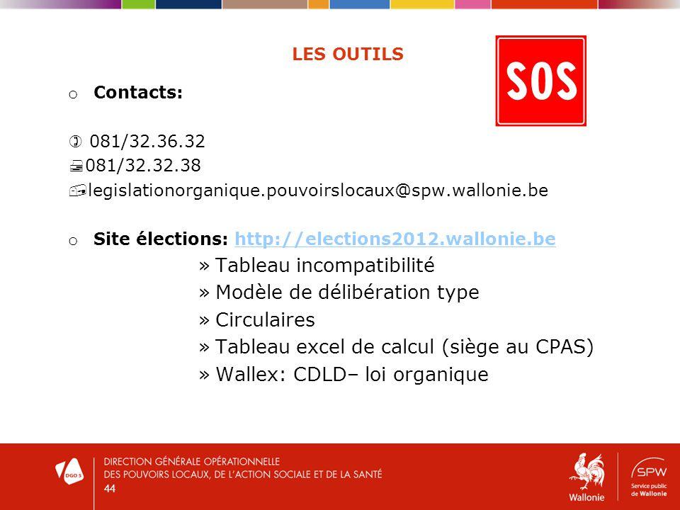 44 LES OUTILS o Contacts: 081/32.36.32 081/32.32.38 legislationorganique.pouvoirslocaux@spw.wallonie.be o Site élections: http://elections2012.wallonie.behttp://elections2012.wallonie.be »Tableau incompatibilité »Modèle de délibération type »Circulaires »Tableau excel de calcul (siège au CPAS) »Wallex: CDLD– loi organique