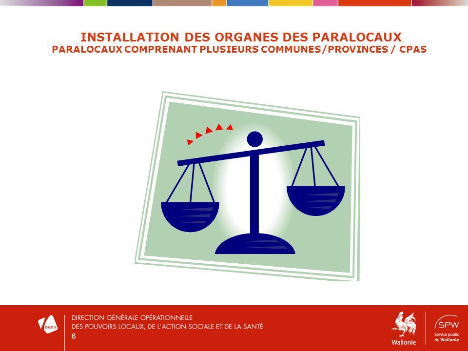 6 INSTALLATION DES ORGANES DES PARALOCAUX PARALOCAUX COMPRENANT PLUSIEURS COMMUNES/PROVINCES / CPAS