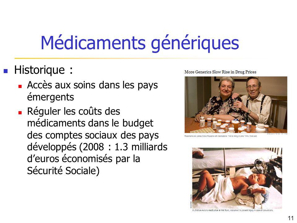 Médicaments génériques Historique : Accès aux soins dans les pays émergents Réguler les coûts des médicaments dans le budget des comptes sociaux des p