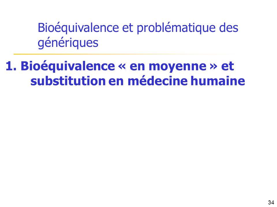 Bioéquivalence et problématique des génériques 1. Bioéquivalence « en moyenne » et substitution en médecine humaine 34