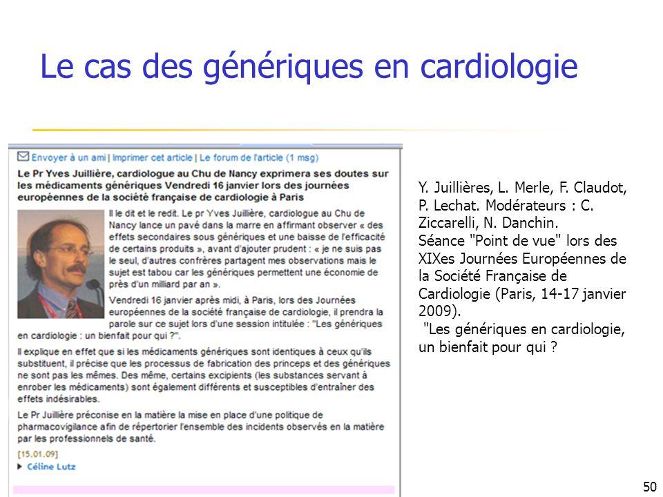 Y. Juillières, L. Merle, F. Claudot, P. Lechat. Modérateurs : C. Ziccarelli, N. Danchin. Séance