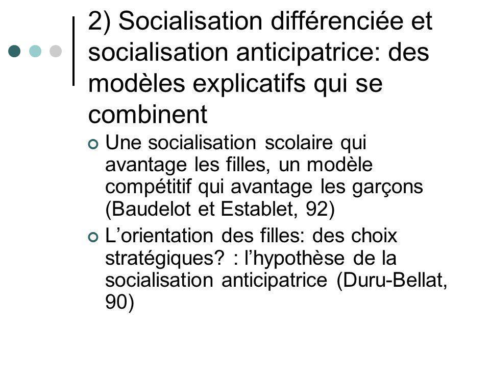 2) Socialisation différenciée et socialisation anticipatrice: des modèles explicatifs qui se combinent Une socialisation scolaire qui avantage les fil