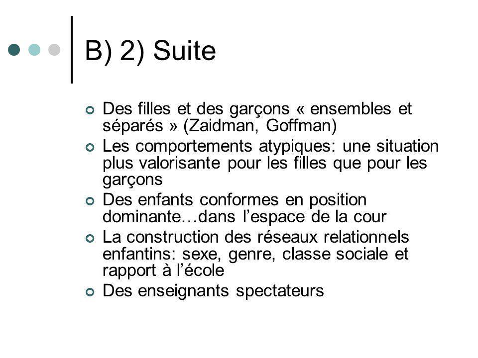 B) 2) Suite Des filles et des garçons « ensembles et séparés » (Zaidman, Goffman) Les comportements atypiques: une situation plus valorisante pour les