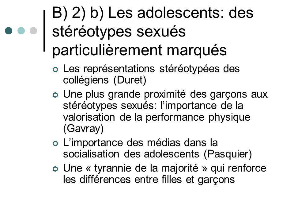 B) 2) b) Les adolescents: des stéréotypes sexués particulièrement marqués Les représentations stéréotypées des collégiens (Duret) Une plus grande prox