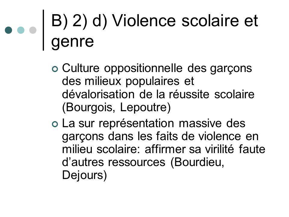 B) 2) d) Violence scolaire et genre Culture oppositionnelle des garçons des milieux populaires et dévalorisation de la réussite scolaire (Bourgois, Le