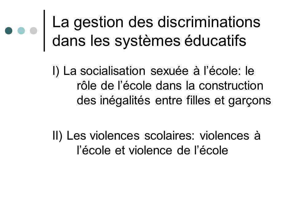 La gestion des discriminations dans les systèmes éducatifs I) La socialisation sexuée à lécole: le rôle de lécole dans la construction des inégalités