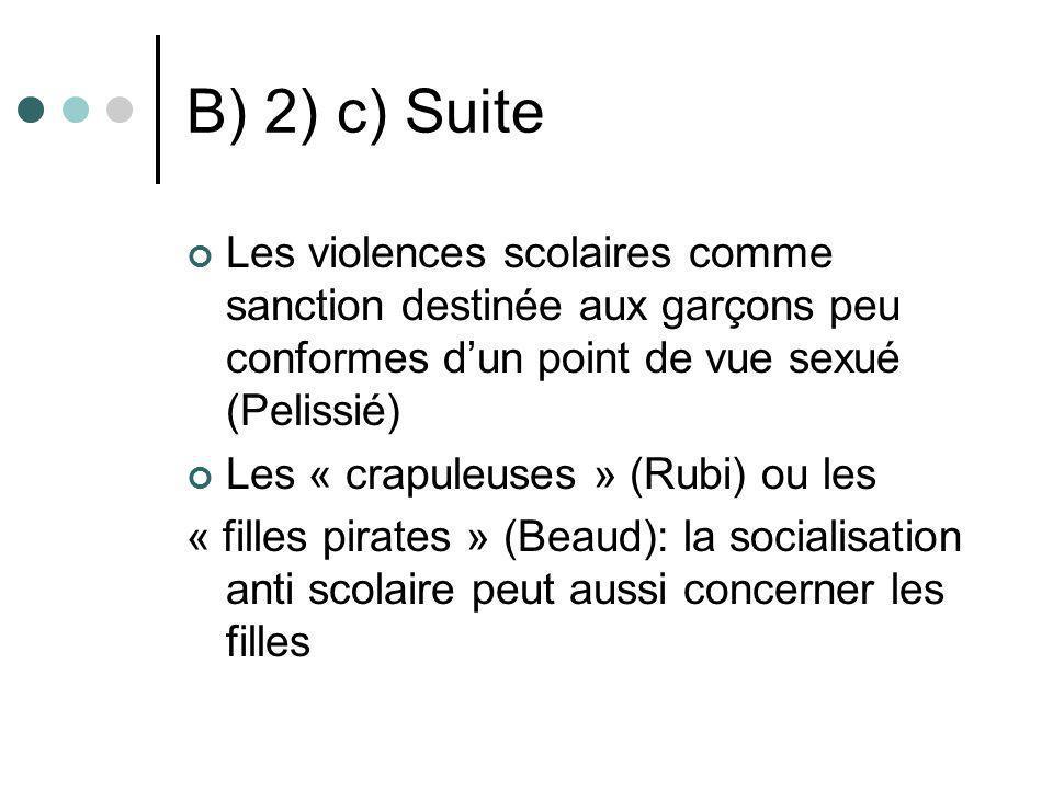 B) 2) c) Suite Les violences scolaires comme sanction destinée aux garçons peu conformes dun point de vue sexué (Pelissié) Les « crapuleuses » (Rubi)