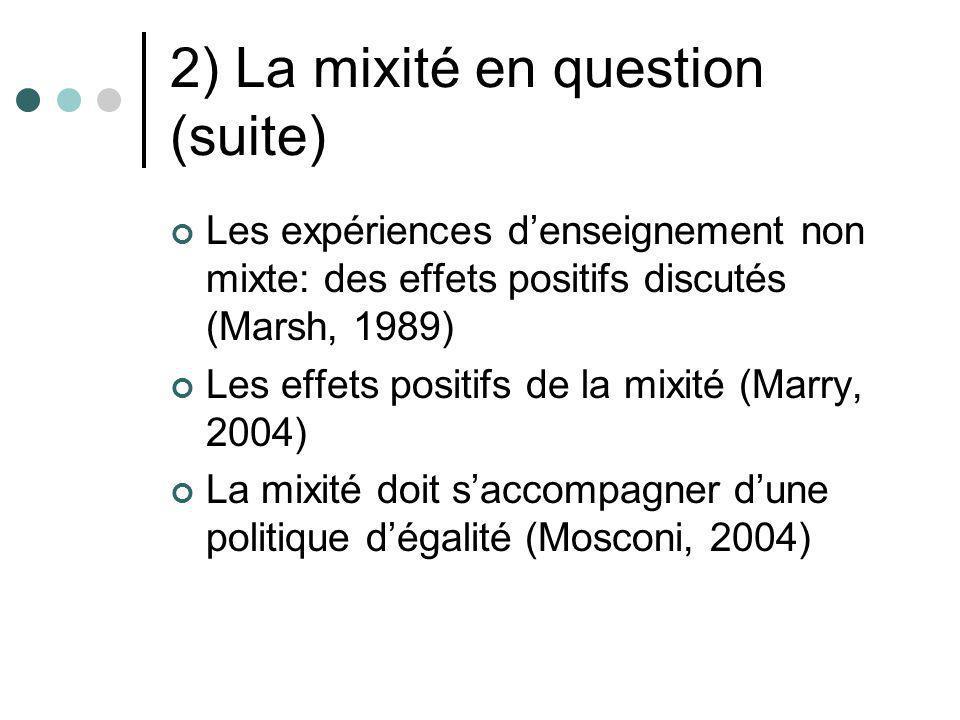 2) La mixité en question (suite) Les expériences denseignement non mixte: des effets positifs discutés (Marsh, 1989) Les effets positifs de la mixité